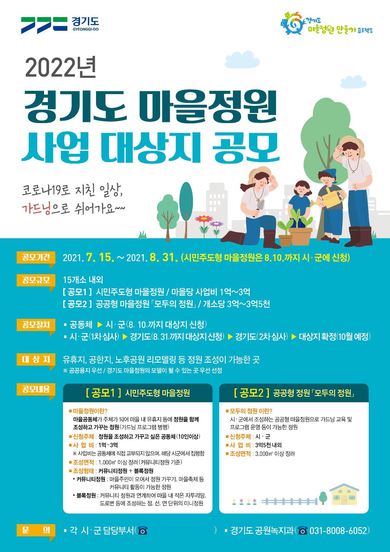 2022년 경기도 마을정원 조성사업 대상지 공모