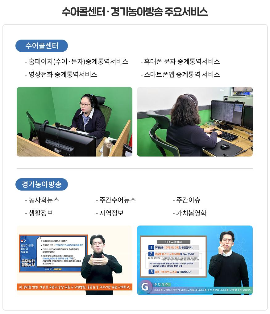 수어콜센터·경기농아방송 주요서비스