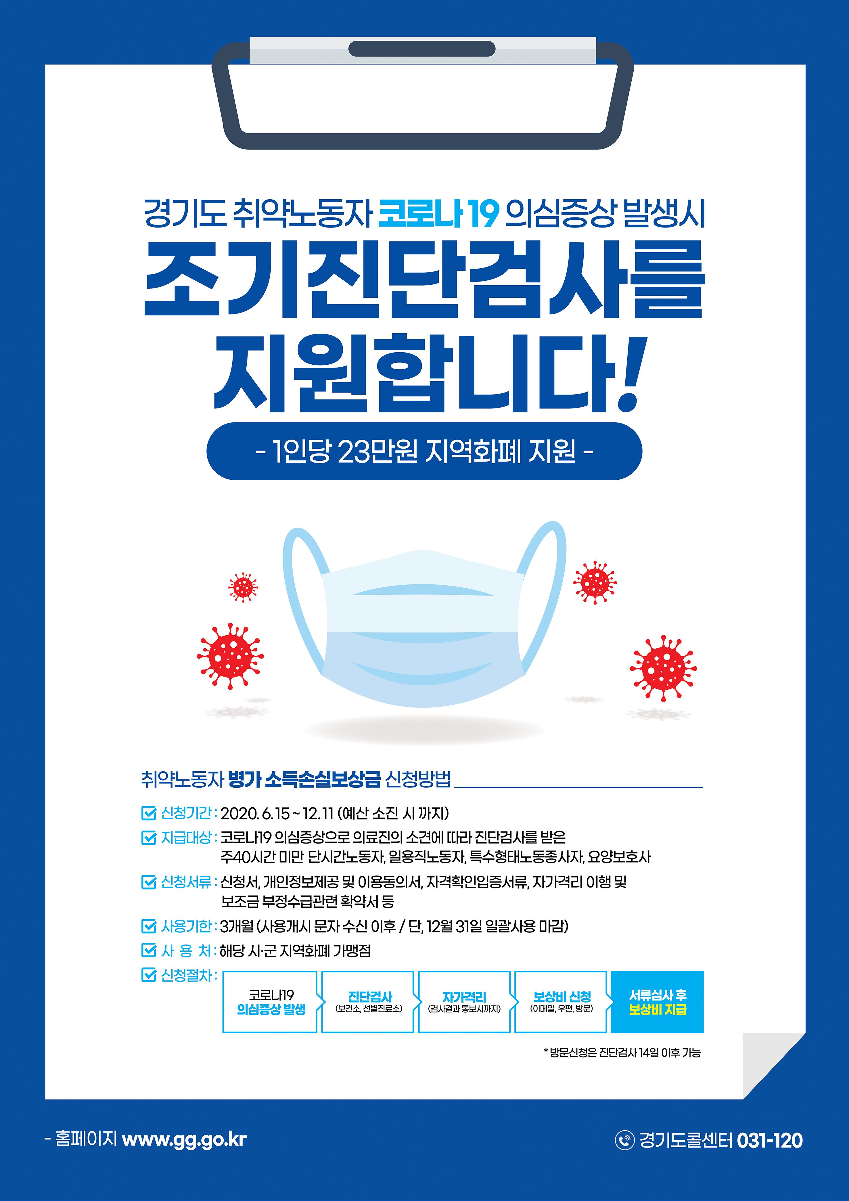 경기도 취약노동자 코로나19 의심증상 발생시 조기진단검사를 지원합니다! 포스터