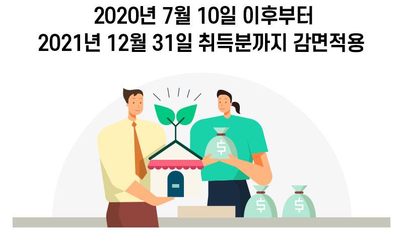 2020년 7월 10일 이후 취득분부터 감면 적용 2021년 12월 31일까지 신청 가능