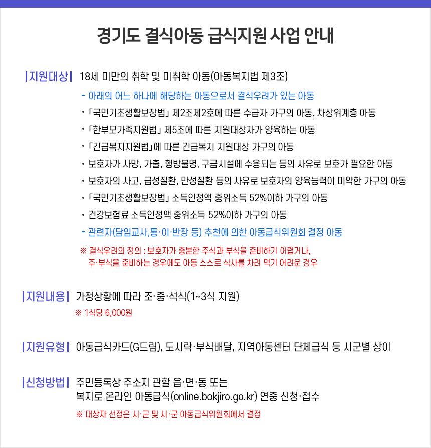 경기도 결식아동 급식지원 사업 안내